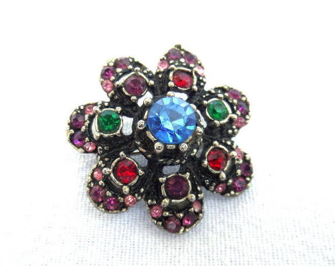 FREE SHIPPING Rhinestone Brooch, Multicolored Pin Brooch, Mid Century, Vintage 1950's English, Silver Plated Metal, Blue, Pink, Red, Green