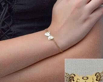Gold HEART BRACELET // Heart Charm Bracelet - Personalized Bracelet - Initial Heart Bracelet - Initial Bracelet - Monogram Heart Bracelet