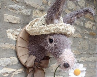 Handmade donkey head faux taxidermy grey and cream seaside beach baby donkey with daisy and straw hat wall mounted animal head trophy