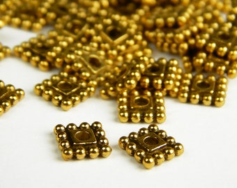 25 Pcs - 7x2mm Square Gold Tone Spacer Beads - Antique Gold Square Beads - Metal Spacer Beads - Jewelry Supplies