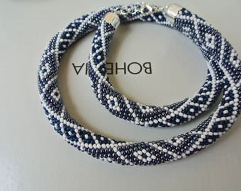 "Bead Crochet Necklace Bracelet Jewelry set ""Victoria"" - Grey Beaded Crochet Necklace - Beaded Bracelet Beadwork Jewelry - bead crochet rope"