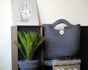 Gray Crocheted ToTe Bag