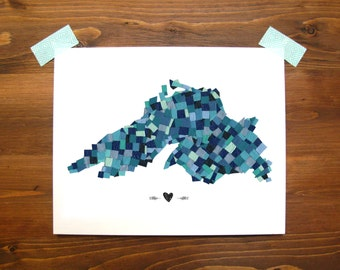 Lake Superior Mosaic Print | Great Lakes Print | 8x10 | Home Decor | Midwest | Great Lakes Print | Great Lakes Art | Instant Download