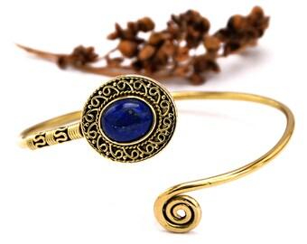 Tribal Bangle, Lapis Bangle, Boho Bracelet, Gemstone Bracelet, Brass Bangle, Cuff Bracelet, Gold Bracelet, Ethnic Jewelry