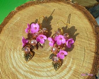 Pink Drop Earrings clay Floral earrings Pink flowers Gold Pink earrings Wedding jewelry Pink long earrings Polymer jewelry Pink wedding Gift