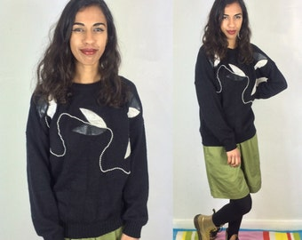 Vintage Black and White Sweater . Women's GRUNGE Monochrome Knitted Jumper . Floral Abstract Retro 80s Pullover . UK 8 10 12 Jonathan Cass