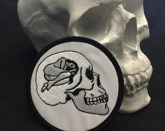 Death Wish / Sad Girl Skull Occult Patch / Embroidered Patch