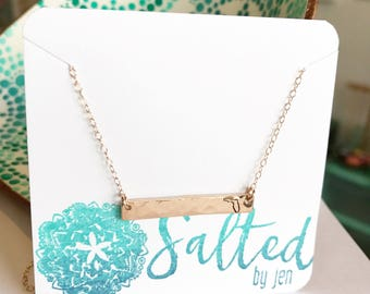 Florida Bar Necklace - Florida Necklace - Custom Jewelry - Gift For Her - Graduation Gift - Rose Gold Hammered