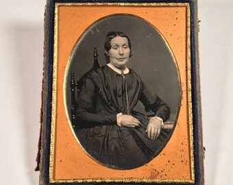 Half-Plate Daguerreotype of an Older Woman by Silsbee, 19th Century Antique Photo in Backing Case