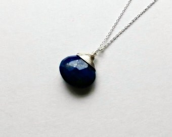 Sterling Silver Lapis Lazuli Necklace Blue Gemstone Lapis Lazuli Pendant Gifts for her gifts under 25 Easter Gifts