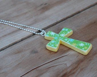 Wood Cross Necklace, Green Cross, Wooden Cross, Yellow, Flower cross, Decoupage, Large cross, Spring Jewelry, Gift for her, Mother's day