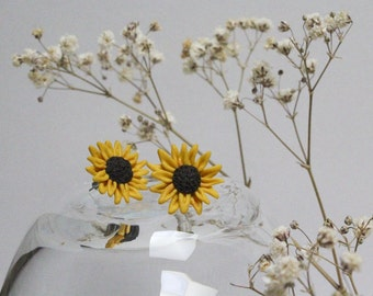 Miniature Handmade Clay Sunflower Stud Earrings, Mini Polymer Clay Jewellery, Flower Earrings, Cute, Gift for Her, Made in Australia