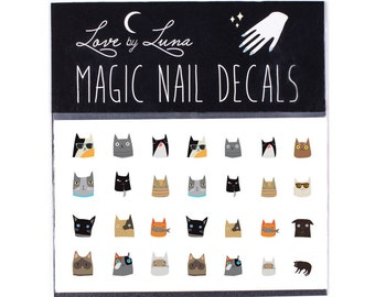 Cat Heads Nail Decals / Cat Nail Decals / Cat Nail Art / Cat Face Nail Decals / Kitty Nail Decals / Cat Nail Wraps / Cute Cat Nail Decals