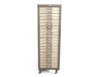 authentic metal file cabinet on wheels 21 drawers grey beautifully aged rustic