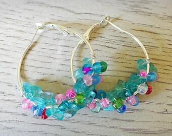 Green Gemstone Beaded Hoop Earrings - Apetite Gemstone Earrings - Silver Cluster Hoop Earrings - Small Silver Hoops - Wrapped Beaded Hoops