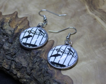 Hand made, Unique, Glass cabochon, Black Bird, Bird Cage, Silhouette, earrings