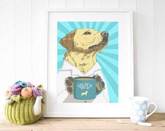 YELLOW LABRADOR Art Print, Yellow Lab print, yellow lab art, labrador print, gift for labrador lover, illustration, wall decor Dog artist UK