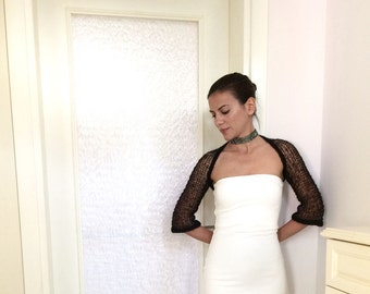 Black Knitted Summer Shrug / Elegant Spring Mohair Bolero / Designer Shrug / Bohemian Fashion / Gift for Women / Handmade - Marsiybell MB01K