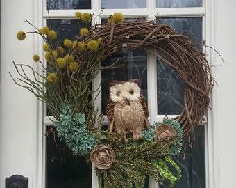 Fall Wreath, Autumn Wreath, Grapevine Wreath, Owl Wreath, Natural Wreath