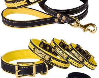 Personalized Dog Collar Leash Set Yellow Leather Custom Laser Engraved ID Tag Soft Padded Brass Hardware