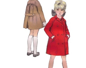 Vogue 6565, 70s Sewing Pattern, Size 8 Girl's Winter Coat Pattern, Pea Coat Double Breasted Coat, Raglan Sleeves Inverted Coat