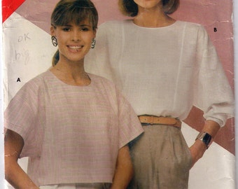 See Sew 5384, 80s Sewing Pattern, Size 14-18 Women's Top Boat Neck, Bat Wing Vintage Shirt Blouse Pattern