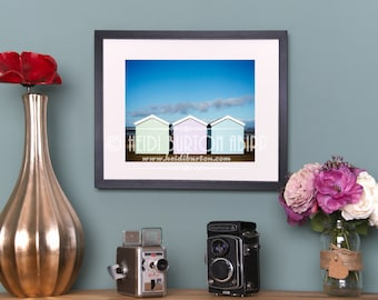 Photographic Art Print Beach Huts.  Colour wall art, poster print, choose your size.
