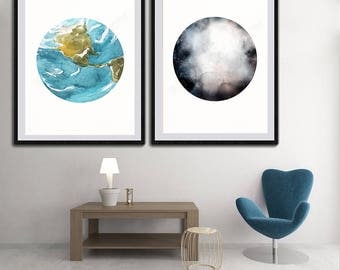 Earth and Moon Watercolor Art Prints - Set of 2 Planet Prints - Astronomy Art Decor - Space Poster