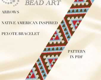 Pattern, peyote bracelet - Native American Navajo inspired peyote bracelet cuff pattern PDF - instant download