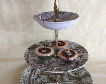 Rare Country Cottage British Anchor 3 tier cake stand serving cake plate Superb