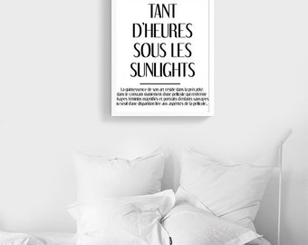 LES SUNLIGHTS | Fashion PRINTABLE Poster | Black and White Typography  | digital File | French quote  | Parisian Art print  | Home Decor
