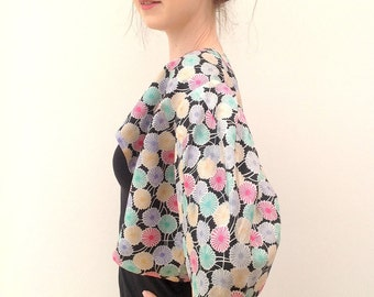 1930s jacket silk with Art Deco geometric floral design vintage