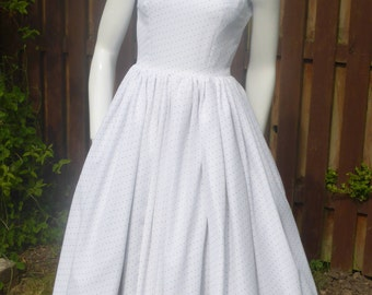 Roman Holiday 1950's style white polkadot dress