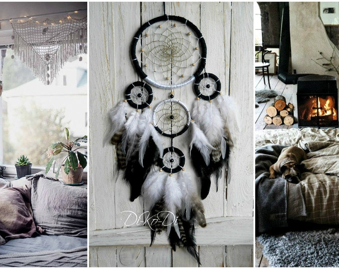 Dreamcatcher black white dream catcher bohemian home decor boho dreamcatcer wall hanging nursery decor large dream catcher