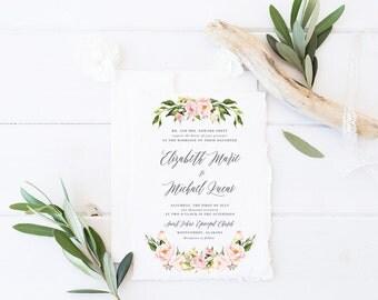 Printable Wedding Invitation Suite / Watercolor, Floral / Wedding Invite Set -  Spring Blush Blooms