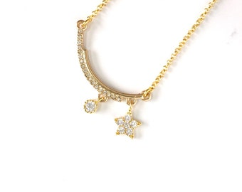 Starlight Pendant Charm Necklace, Delicate Necklace, Everyday Jewelry, CZ Pendant Necklace, Star Charm Necklace