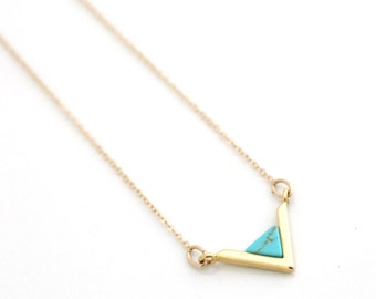 Valentines Gift for Woman, Valentine Jewelry Gift Idea, Geometric Gold Necklace, Turquoise V Necklace, Gold Filled Triangle Necklace, Trendy