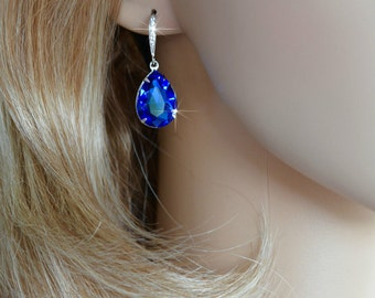 Handmade Swarovski Sapphire Blue Pear Crystal Dangle Earrings, Bridal, Wedding (Sparkle-2369)