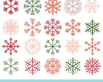 Instant download Christmas snowflake clip art, Red snowflake clipart, Snow clipart, Digital snowflake png, Pink snowflake winter clipart