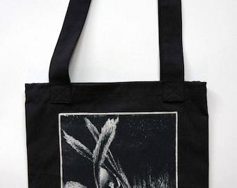 Upcycled Dark Bag with screenprint - Moriava