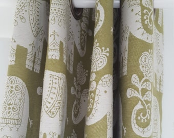 Eyelet Curtains made to measure in any fabric (shown in ethnic elephant fabric)