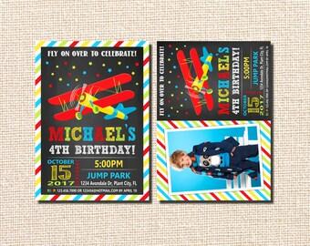 Plane Invitation, Airplane Birthday Invitation, Flying Planes Invitation, Chalkboard plane invitation, Plane Photo Invitation, Plane
