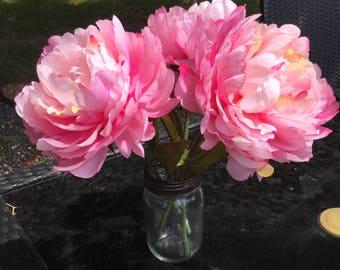 Faux Peony arrangement, Pink floral arrangment, Mason jar floral arrangement, Floral Decor, Farmhouse Decor