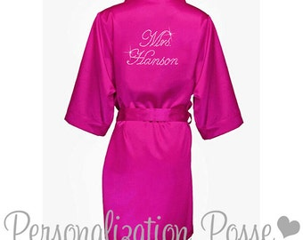 Bride Robe, Personalized Robe, Custom Mrs. Rhinstone Embellished Satin Robe, Wedding Party Robe,