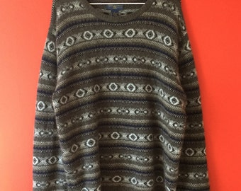 100% cashmere grey and blue sweater