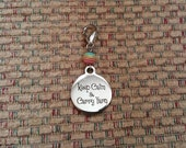 Keep Calm and Carry Yarn- Progress Keeper Stitch Marker for Crocheting and Knitting or Bag Charm  SPK518
