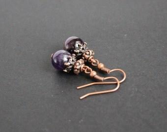 Round purple amethyst earrings Dangle amethyst earrings Copper amethyst earrings Amethyst stone earrings Amethyst jewelry Healing earrings