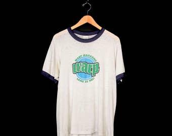 Rare Paper Thin Early 90s Warp Magazine Promo T-Shirt. Mildly Thrashed Vintage Skate Snow Surf Sound Focused Transworld Sister Magazine Tee.