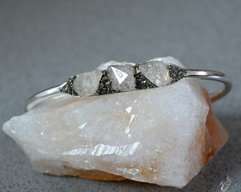 April Birthstone Bracelet Raw Herkimer Diamond Bracelet April Birthday Jewelry  Mother's Day Gift