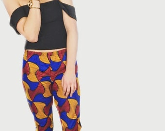 Blue, Yellow Red & Black African Print Tights/ African Print Leggings